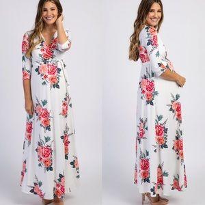 Ivory Floral Maternity/Nursing Wrap Maxi Dress